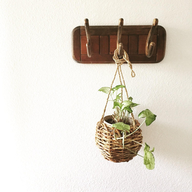 vintage wooden wall coat rack hanger hooks