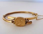 Antique Victorian Gold Filled Hinged Bangle Bracelet Wedding Bracelet