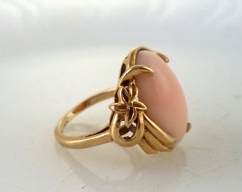 Estate 14K Pink Coral Ring Genuine Coral Vintage
