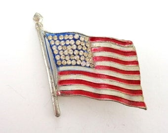 WWII Pot Metal Flag Brooch Pin with Crystal Rhinestones and Red, White and Blue Enamel