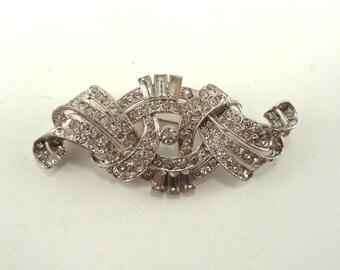 Art Deco Trifari Crystal Rhinestone Rhodium Plate Brooch