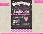 Minnie mouse birthday invitation invite, minnie invite, minnie birthday invitation, 1st birthday 2nd birthday chalkboard pink  printable