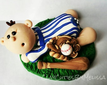 Baseball Baby Cake Topper Baby Boy Baby Girl or Neutral Baby Shower Sports Fan Ball  Personalized Custom Handmade Keepsake for Baby Shower