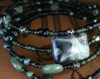 Beaded Memory Wire Bracelet Multi Strand Black Green Jasper Wrapped Bracelet