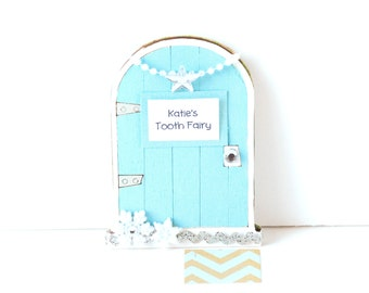 Tooth Fairy Door Girls Tooth Fairy Gift Personalized Tooth Fairy Garden Door Tooth Fairy Gift for Girls in Frosty Blue