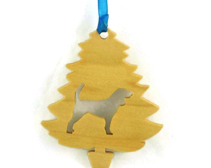 Beagle Christmas Tree Ornament Handmade From Poplar Wood