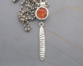 Coral And Silver Necklace - Coral Pendant - Chunky Silver & Coral Necklace - Ready to Ship
