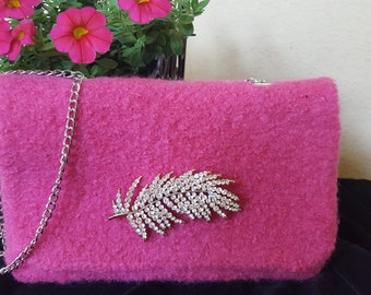 SALE - Hand Knit and Felted HOT PINK Purse - #A2