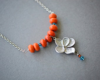 Ceramic Flower Necklace, Orange Necklace, Zircon Swarovski Necklace, Bar Necklace, Colorful Beaded Necklace, Teal Necklace