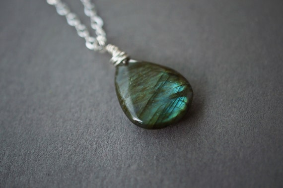 Labradorite Necklace, Sterling Silver  Necklace, Boho Necklace, Argentium Wire Wrapped, Pendant, Labradorite, Teardrop