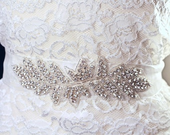 Wedding Belt, Bridal Sash, Hairband, Beaded, Crystal, Rhinestone, White, Organza, Long, Jennifer Jones, Art Deco, 1920s, Flapper, Satin