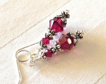 Vintage Look Ruby Red Crystal Earrings in Silver