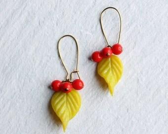Neon Vine Yellow Earrings ... Red Berry Hanging Leaf Earrings