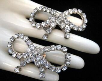 Vintage MUSI Clear Rhinestone Shoe Clips - Wedding Bridal