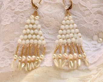 long bridal earrings wedding chandelier earrings White Crystal pearl earrings long pearl earrings pearl gold earrings gold dangle earrings