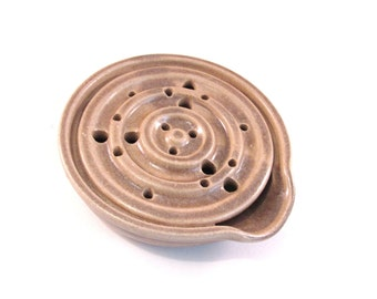 One Soap Dish with Drain Tray - One Piece Soap Saver for Kitchen or Bath - Handmade Pottery Glazed Oatmeal Tan