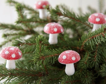 Spun Cotton Mushroom Christmas Picks - Set of 6 Glittered German Ornaments