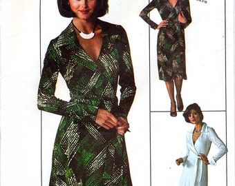 Simplicity 7705 Vintage 70s Sewing Pattern for Misses' Wrap Dress - Size 16 - Bust 38