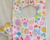 Happy Spring Newborn Bib + Teething Bunny Set - Perfect Baby Shower Gift!