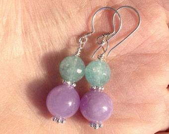 Aquamarine Lavender Agate Earrings, Gemstone Earrings Agate Earrings Lavender Agate Silver Earrings Lavender Blue