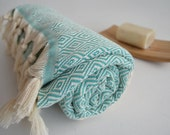 Shipping with FedEx - Diamond Bathstyle Turkish BATH Towel Peshtemal -A- Turquoise - Bath, Beach, Spa, Swim, Pool Towels