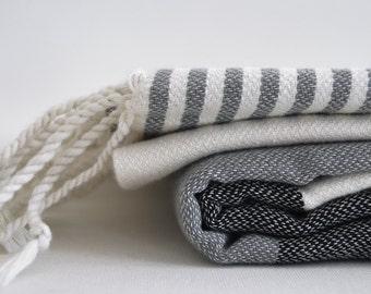 SALE 30 OFF/ Turkish Beach Bath Towel / Classic Peshtemal / Gray Black / Wedding Gift, Spa, Swim, Pool Towels and Pareo
