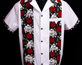Legend Skull & Roses White limited-edition ultra-high quality men's shirt