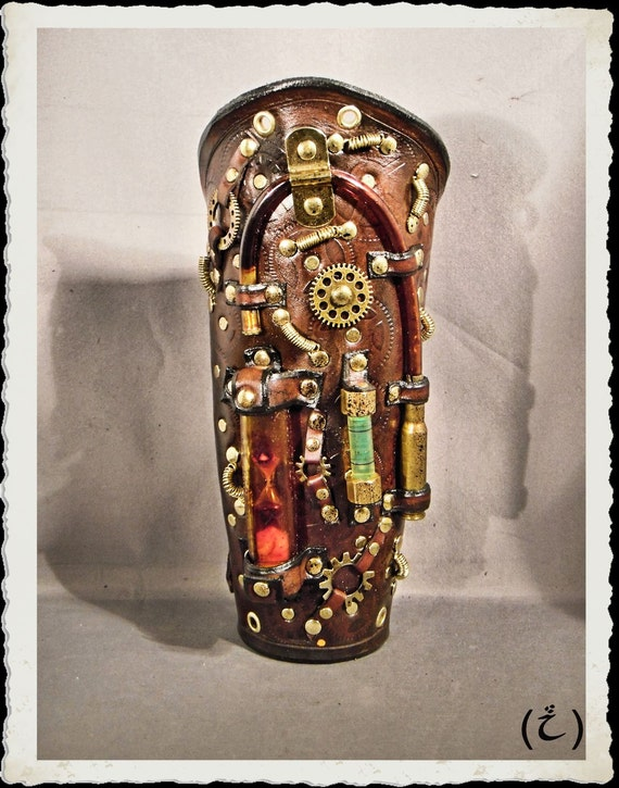 RESERVED for HANS-RUEDI - Steampunk leather bracer - Chronos -