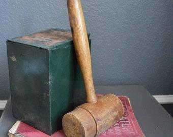 Large Vintage Mallet Wooden Gavel Judges Mallet Desk Display Hammer Toy Auctioneer Vintage Hammer Vintage Gavel Wooden Hammer Antique Brown