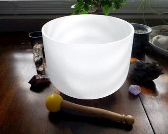 Crystal Singing Bowl - 8 inch, Heart Chakra, Crystal Bowl, Meditation, Sacred Instrument, Gift Idea