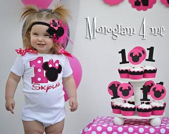 Minnie Mouse Birthday Shirt - First Birthday - Hot Pink Minnie Mouse - 1st Birthday