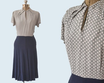 1950s Rayon Polka Dot Dress size S