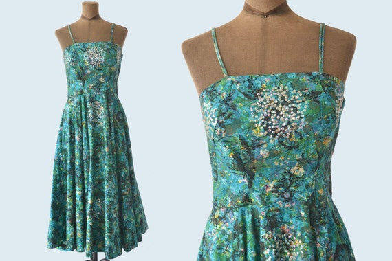 1950s Teal and Blue Sequined Dress size S