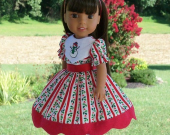 RESERVED for CATHY /Wellie Wishers Holiday Magic Embroidered  Dress and Shoes / Doll Clothes for American Girl Wellie Wisher®