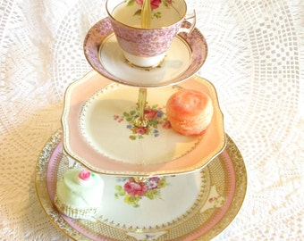 Pink Floral & Roses 3-Tier Cupcake Stand Vintage China Plates with Teacup, French Country Tiered Party Dessert Tray By High Tea for Alice