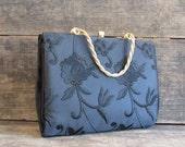BLACK MAGIC Vintage 50s Purse | 1950's Black Silk Embroidered Floral Handbag by Cara