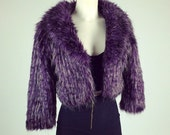 90's Feathered Purple Super Shaggy Fur Coat // S - M