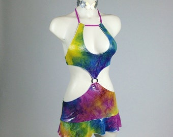 90's Rainbow Hologram Rainbow Tie Dye Glitter Cut Out Dress  // S-M