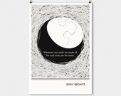 Literary Art Print, Emily Bronte Large Wall Art Posters, Literary Quote Poster, Illustration, Minimalist Prints, Bookish Gift for Writer