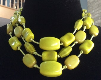Kiwi green choker necklace 16 inch