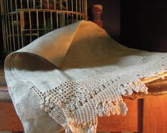 Antique Table Runner / Raw Linen Table Runner / Thanksgiving Table Runner / Victorian Table Runner / Vintage Wedding