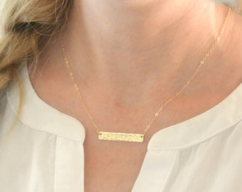 Hammered Bar Necklace, Personalized Name Necklace Silver, Gold, Rose Gold, Bridesmaid Gift Idea, Initial Necklace, Dainty Necklace