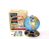 Vintage World Globe c1964 Jet Age Whirling Derby Game by Replogle w/Original Box & Game Pieces