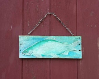 Pallet art/ lake house/ cottage art/ beach house/ distressed/ hand painted /silverfish /  farm wood