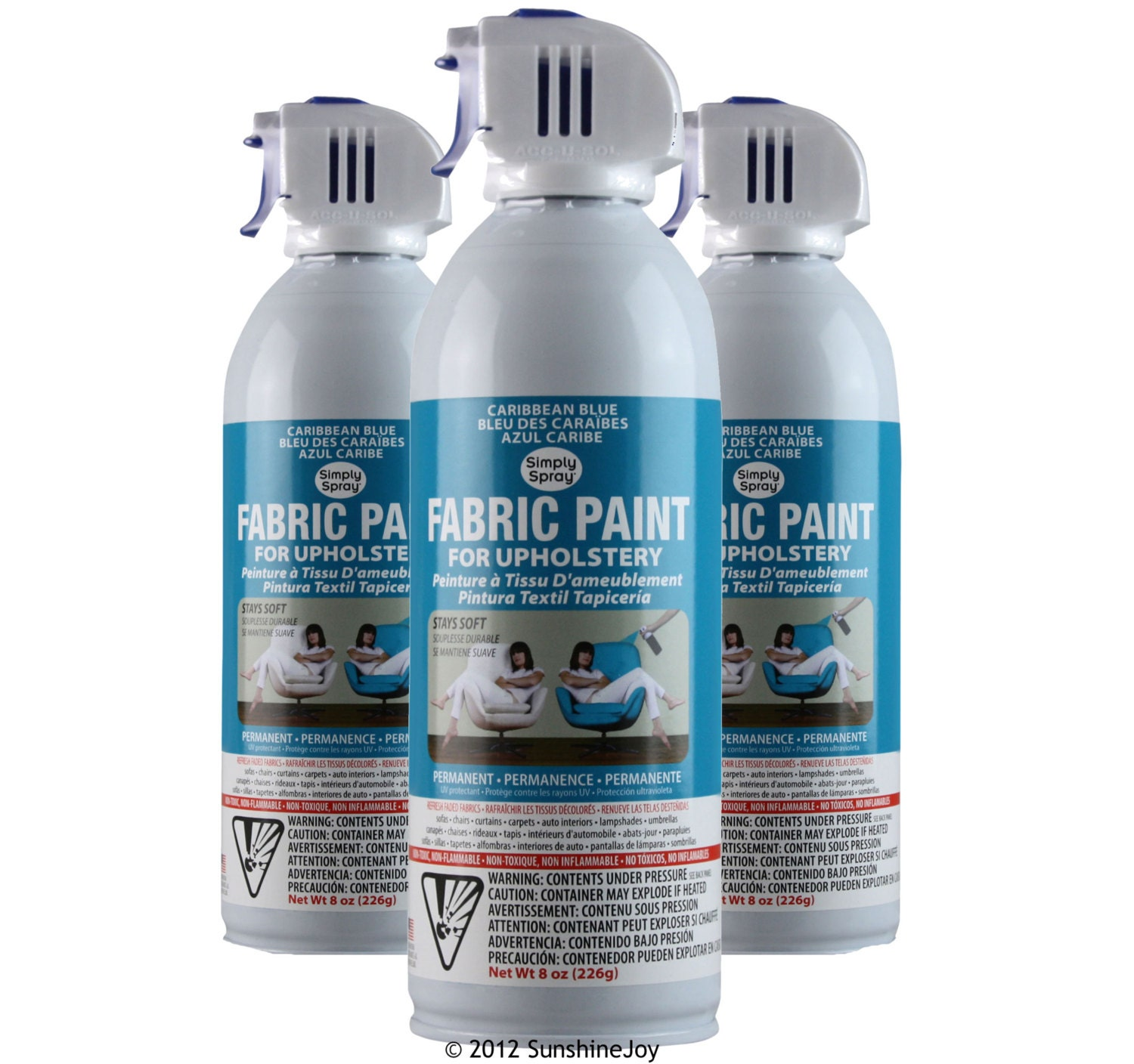 Simply Spray Upholstery Fabric Spray Paint Dries Soft Permanent Caribbean Blue 3 Pack