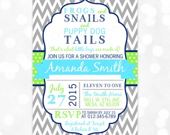 Frogs and Snails and Puppy Dog Tails Baby Shower Invitation Boy Baby Invite Chevron Gray Green Blue DIY Printable Invite PDF (Item #90)