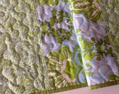 Blue and Green Floral Print Table Runner,  Quilted Table Runner,  Spring Table Topper