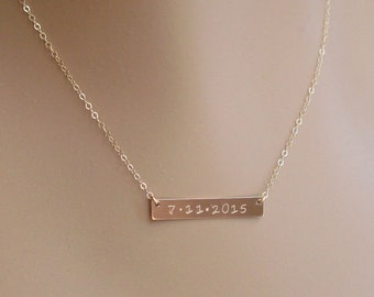 Gold Bar Necklace - Personalized - 14K Gold Filled - Nameplate Necklace - Custom - Horizontal Bar - Vertical Bar - Name Date Hand Stamped