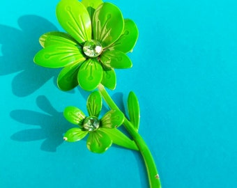 Vintage Green Enamel & Rhinestone Double Flower Brooch - FREE SHIPPING