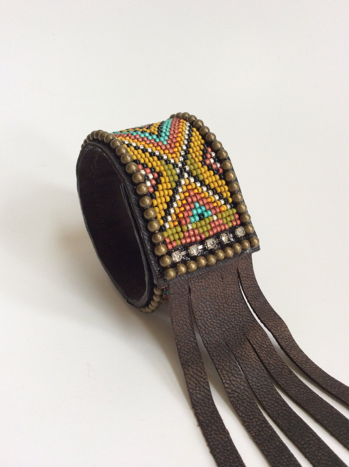 Beaded Leather Cuff Bracelet With Fringe Boho Bracelet